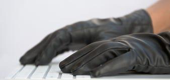 Hakker in zwarte handschoenen Stock Fotografie