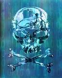 Hakkeraanval met schedelachtergrond Stock Fotografie