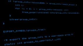 Hakkercode die een terminal van het computerscherm reduceren stock footage