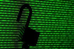 Hakkerconcept computer binaire codes en hangslot Stock Afbeeldingen
