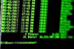 Hakkerconcept De lijst van de vensterscomputer van dossiers in folder stock afbeelding