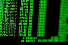 Hakkerconcept De lijst van de vensterscomputer van dossiers in folder royalty-vrije stock fotografie