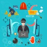 Hakkerconcept het binnendringen in een beveiligd computersysteem virussen van rekenings stealing wachtwoorden Stock Foto
