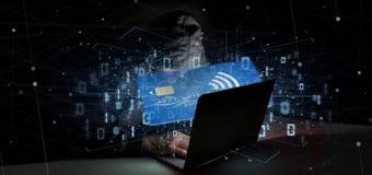 Hakkermens die een concept zonder contact van de creditcardbetaling 3d houden Royalty-vrije Stock Afbeeldingen