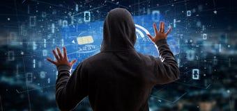Hakkermens die een concept zonder contact van de creditcardbetaling 3d houden Stock Afbeelding
