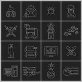 Hakkerpictogrammen geplaatst overzicht Royalty-vrije Stock Foto