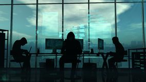 Hakkers aan het werk aangaande de blauwe achtergrond