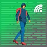 Hakkerstudent die vectorillustratie lopen Stock Foto's