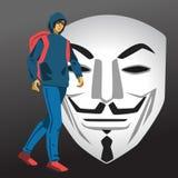 Hakkerstudent die vectorillustratie lopen Stock Foto