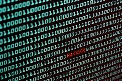 Hakkertekst en binaire codeconcept van het Desktopscherm, sel Stock Foto