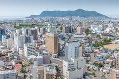 Hakodate, Хоккаидо, Япония 9-ое июня 2016 Вид на город Hakodate от Стоковые Фотографии RF
