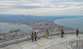 Hakodate city. Cityscape of Hakodate from the view point at mountain Hakodate, Japan