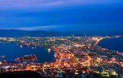 Hakodate en la noche Fotos de archivo libres de regalías