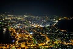 Hakodate, Hokkaido, Japan op 28,2018 April: Spectaculaire meningen van de stad van Hakodate van Onderstel Hakodate Één van Japan  Stock Foto's