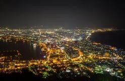 Hakodate, Hokkaido, Japan op 28,2018 April: Spectaculaire meningen van de stad van Hakodate van Onderstel Hakodate Één van Japan  Stock Foto