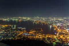 Hakodate, Hokkaido, Japan op 28,2018 April: Spectaculaire meningen van de stad van Hakodate van Onderstel Hakodate Één van Japan  Stock Afbeeldingen
