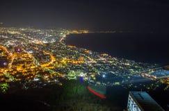 Hakodate, Hokkaido, Japan op 28,2018 April: Zet Ropeway van Hakodate en spectaculaire meningen van de stad van Hakodate op Één va Royalty-vrije Stock Fotografie