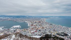 Hakodate, Hokkaido, Japan Skyline. At twilight stock footage