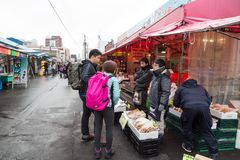 Hakodate, Japan, January 28, 2018: Fresh seefood and produce ret Stock Images
