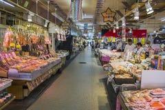 HAKODATE, JAPAN - JULY 20 Japanese merchant sell dried seafood i Royalty Free Stock Photo
