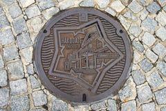 Hakodate, Japan - October 22, 2017 : Iron manhole cover of Hakodate.