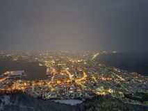 Hakodate mountain night view stock image
