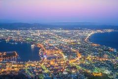 Hakodate-Stadt, die Nachtansicht von Mt Hakodate, Japan Lizenzfreies Stockfoto