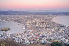 Hakodate-Stadt, Sonnenuntergangansicht von Mt Hakodate, Japan Lizenzfreies Stockbild