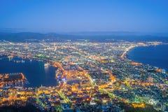 Hakodate-Stadtansicht vom Berg Hakodate Stockfotos