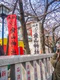 HAKONE, ЯПОНИЯ - 2-ОЕ ИЮЛЯ 2017: Письма Japanesse в информативном совете, с вишневыми цветами красивого вида позади Стоковое Изображение RF