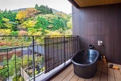 HAKONE, JAPÃO - 5 DE NOVEMBRO DE 2017: Banheira no balcão do hotel com uma ideia do espaço da cópia da floresta para o texto imagens de stock royalty free