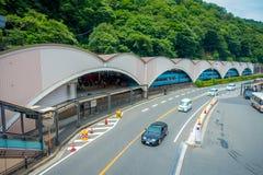 HAKONE, JAPÓN - 2 DE JULIO DE 2017: Estación de Hakone-Yumoto que sirve como el punto de entrada en el centro turístico de montañ Foto de archivo