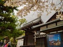 HAKONE, JAPAN - JULI 02, 2017: De toneelmening van mooie kers komt in majestueuze kiyomizu-Dera van Sakura, beroemd tot bloei Stock Fotografie