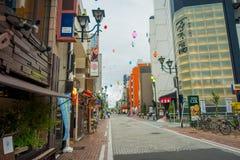 HAKONE JAPAN - JULI 02, 2017: Härlig sikt av gator Det ger också hållplatsen för den Hakone Tozan bussen tillbaka till Hakone Arkivfoton