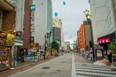 HAKONE JAPAN - JULI 02, 2017: Härlig sikt av gator Det ger också hållplatsen för den Hakone Tozan bussen tillbaka till Hakone Royaltyfria Bilder