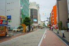 HAKONE JAPAN - JULI 02, 2017: Härlig sikt av gator Det ger också hållplatsen för den Hakone Tozan bussen tillbaka till Hakone Royaltyfri Foto