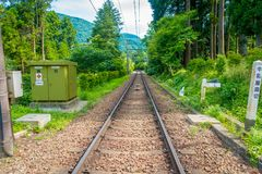 HAKONE JAPAN - JULI 02, 2017: Järnväg av linjen för Hakone Tozan kabeldrev på den Gora stationen i Hakone, Japan Fotografering för Bildbyråer