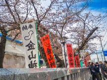HAKONE JAPAN - JULI 02, 2017: Japanesse bokstäver i en informativ rådgivning, med körsbärsröda blomningar för en härlig sikt bako Royaltyfri Foto