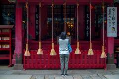 HAKONE, JAPAN - 2. JULI 2017: Nicht identifizierte Frau stoppt, um am Hakone-Schreintempel in Hakone, Japan zu beten Lizenzfreies Stockbild
