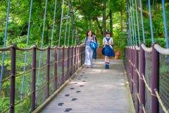 HAKONE, JAPAN - JULI 02, 2017: Niet geïdentificeerde mensen die in de brug bij het openluchtmuseum van Hakone lopen Royalty-vrije Stock Foto's