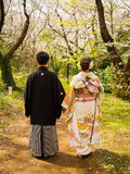 HAKONE JAPAN - JULI 02, 2017: Oidentifierade par som går och tycker om sikten i hanami, parkerar under den körsbärsröda blomninge Arkivfoton