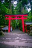 HAKONE JAPAN - JULI 02, 2017: Röda Tori Gate på den Fushimi Inari relikskrin i Kyoto, Japan Royaltyfri Foto