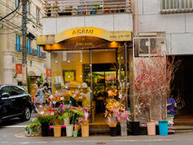 HAKONE, JAPAN - JULY 02, 2017: View of the enter of a flower store, with flowers inside of pots, located at outside of Stock Photos