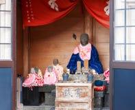 HAKONE, JAPAN - NOVEMBER 5, 2017: Stone mummy of a japanese monk. Copy space for text. HAKONE, JAPAN - NOVEMBER 5, 2017: Stone mummy of a japanese monk. Copy royalty free stock image