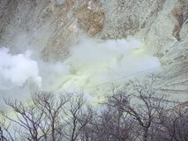 Hakone in Japan. Owakudani is geothermal valley with active sulfur vents and hot springs in Hakone. Hakone in Japan 2019 January 18. Owakudani is geothermal stock image
