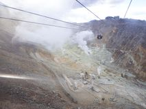 Hakone in Japan. Owakudani is geothermal valley with active sulfur vents and hot springs in Hakone. Hakone in Japan 2019 January 18. Owakudani is geothermal stock photo