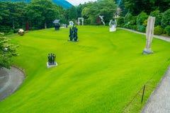 HAKONE JAPONIA, LIPIEC, - 02, 2017: Na otwartym powietrzu Hakone Chokoku lub Żadny Mori Bijutsukan jesteśmy popularnym muzeum Obraz Royalty Free