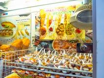 HAKONE JAPONIA, LIPIEC, - 02, 2017: Plastikowy jedzenie bawi się w Teramachi, jest salowym zakupy ulicą lokalizować w centrum Obrazy Stock