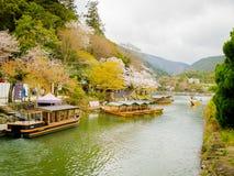 HAKONE JAPONIA, LIPIEC, - 02, 2017: Turysta wioślarskie łodzie na jeziorze pod pięknymi czereśniowego okwitnięcia drzewami w Chid Obraz Royalty Free