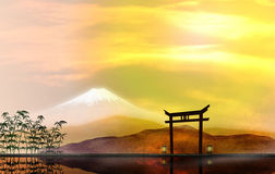 Hakone Landscape Illustration. 3D illustration of Hakone park coast and Mount Fuji Stock Photography